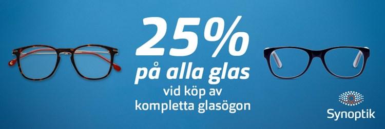 25% rabatt på alla glas vid köp av kompletta glasögon 8c3d0610caaf0